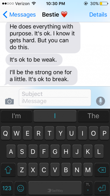 text messages on iPhone about being strong