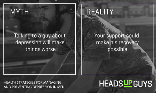 On the left it reads myth: Talking to a guy about depression will make things worse. On the right it reads: Reality: Your support could make his recovery possible.