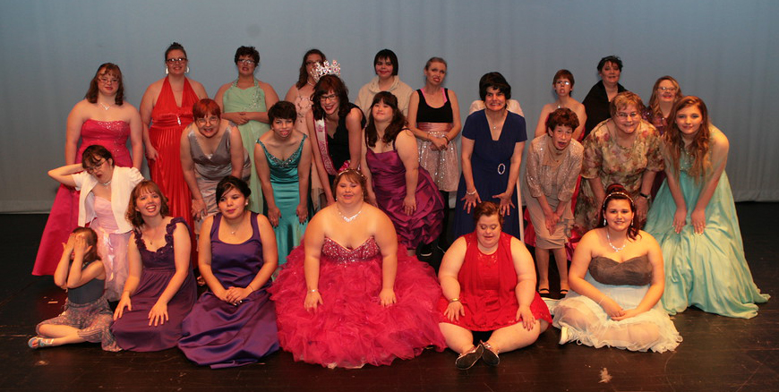 Miss Unstoppable Pageant contestants in evening gowns