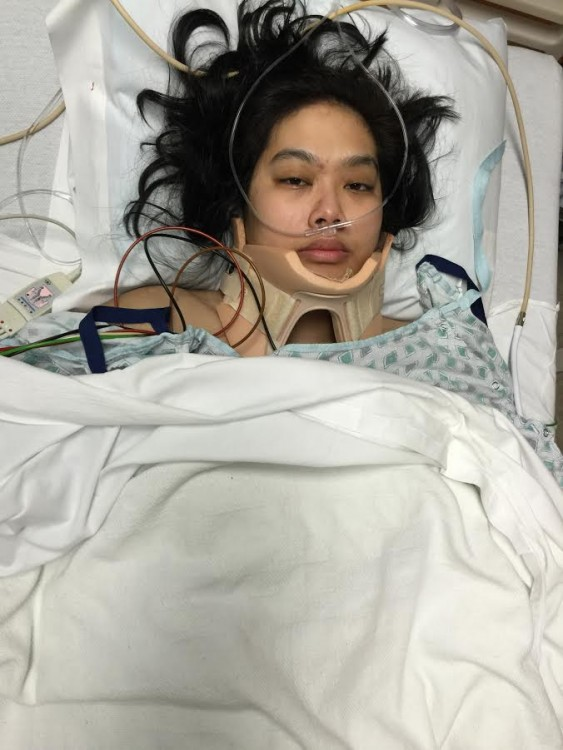 woman in hospital bed after surgery