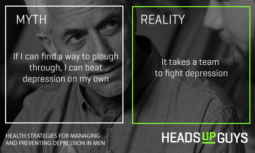 """On the left it reads: If I can find a way to plough through, I can beat depression in my own."""" On the right it reads, Reality: It takes a team to fight depression."""