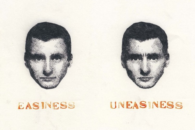 On the left: Man's expressionless face. Text reads: Easiness. On the left, the same man's face. Text reads: Uneasiness.