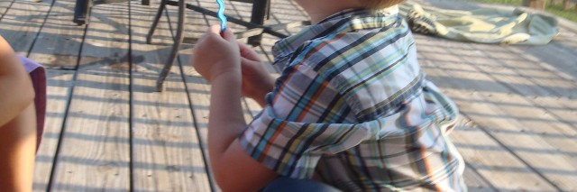 susanne's son blowing bubbles