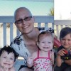Cindy with her children on a balcony with hairloss from chemo, and Cindy with her children post chemotherapy.