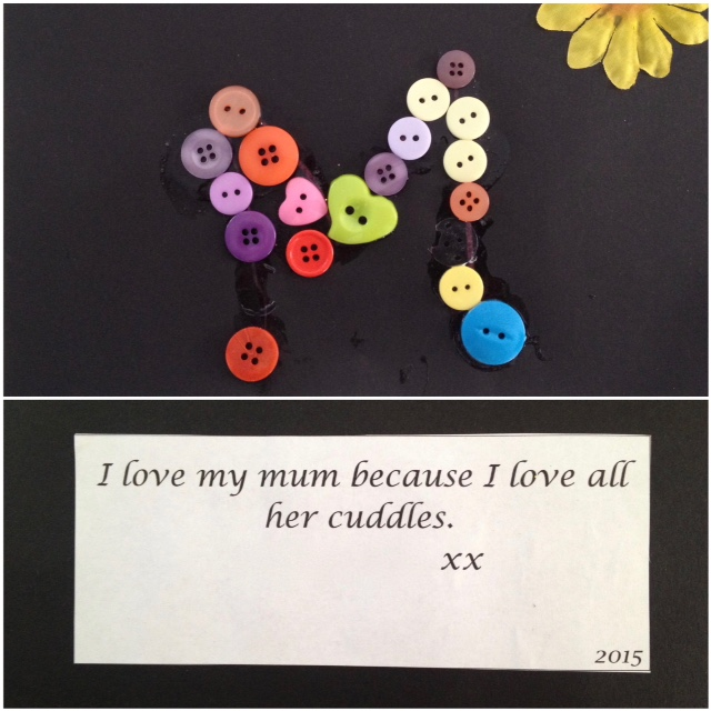 mother's day card made with buttons