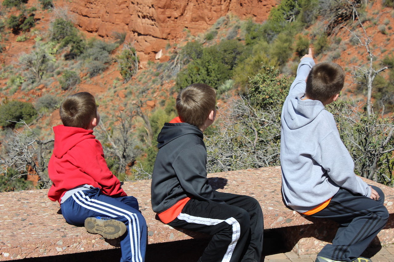 three boys at grand canyon