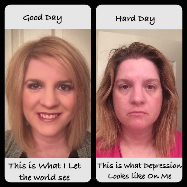 Two images: On the left, a woman who is made up. The text reads: This is what I let the world see. On the right, a woman who looks more disheveled. Text reads: This is what depression looks like on me.