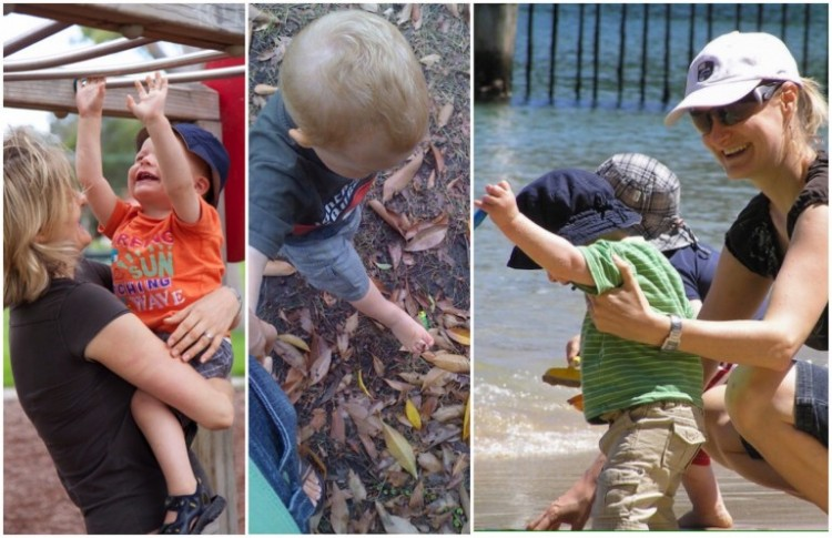 three photos side by side of a mom with her son