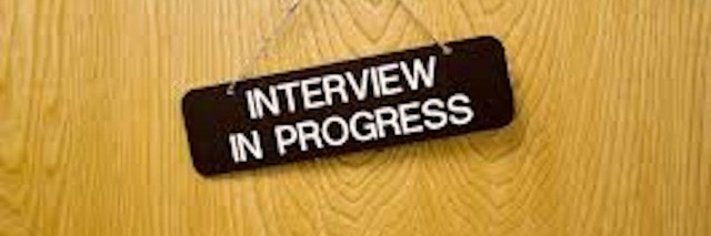 sign that says interview in progress