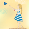 cartoon girl with paper airplane