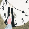 woman on a clock
