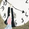 woman on a clock