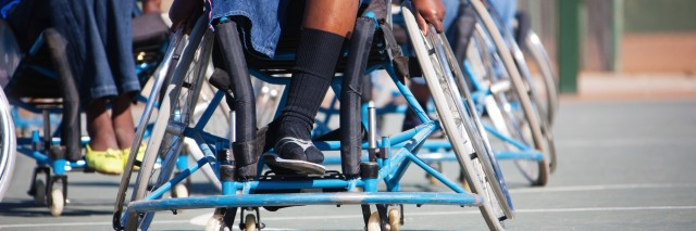 Paralympic athletes in wheelchairs.