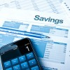 Savings account paperwork and calculator