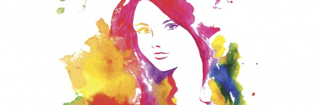 Portrait of elegant woman lookinf at camera. Vector hand drawing by water color splashes