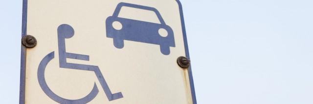 Disability symbol sign at car park