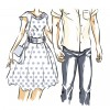 Young modern couple are on a date. Man and woman walk and hold hands. Front view. Vector color cartoon, comics style.