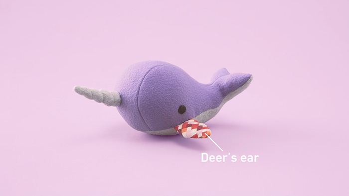 Narwhal with deer's ear for fin