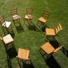 Chairs on lawn forming circle, elevated view