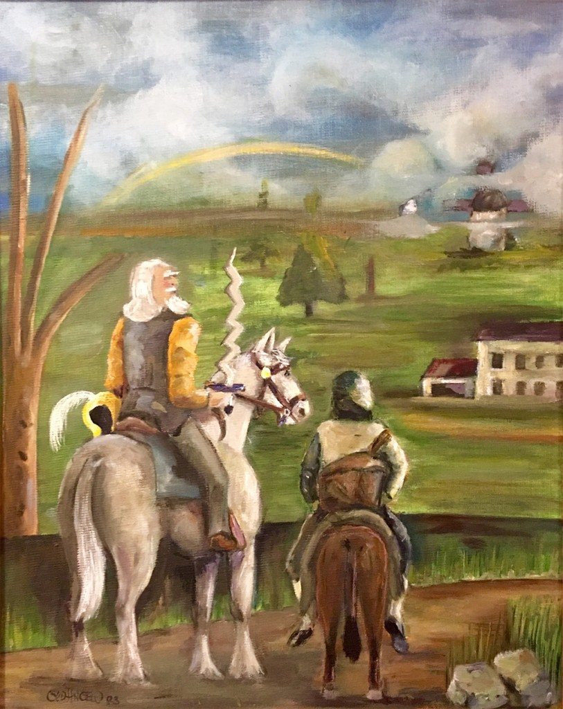 "Don Quixote and Sancho looking out at the countryside, with the inn/""castle"" and windmill in the distance."
