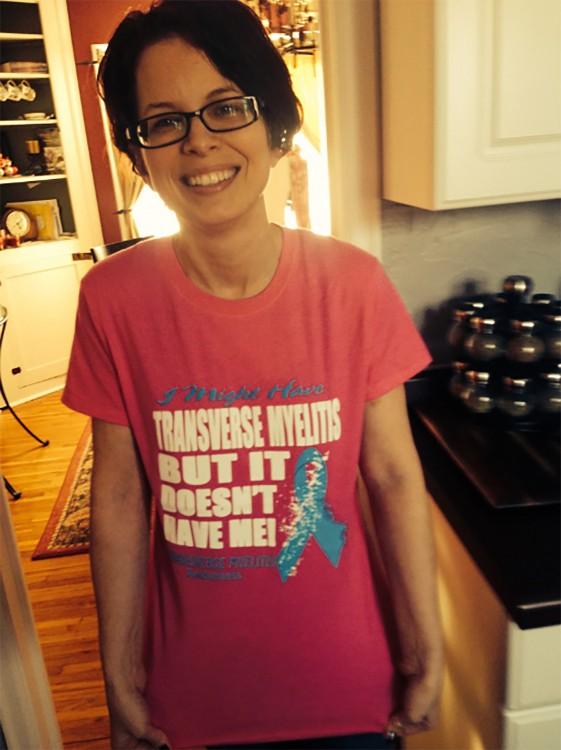 Hilary in her transverse myelitis t-shirt.