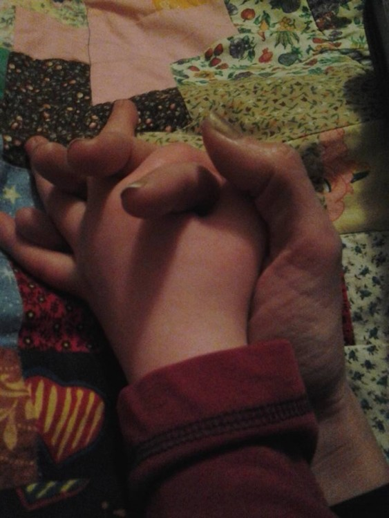 A close of holding hands