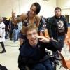 Justin with wrestler Heidi Lovelace.