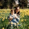 my son and I in the daffodils