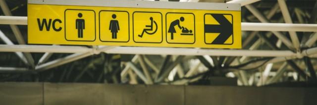 Restroom signs.