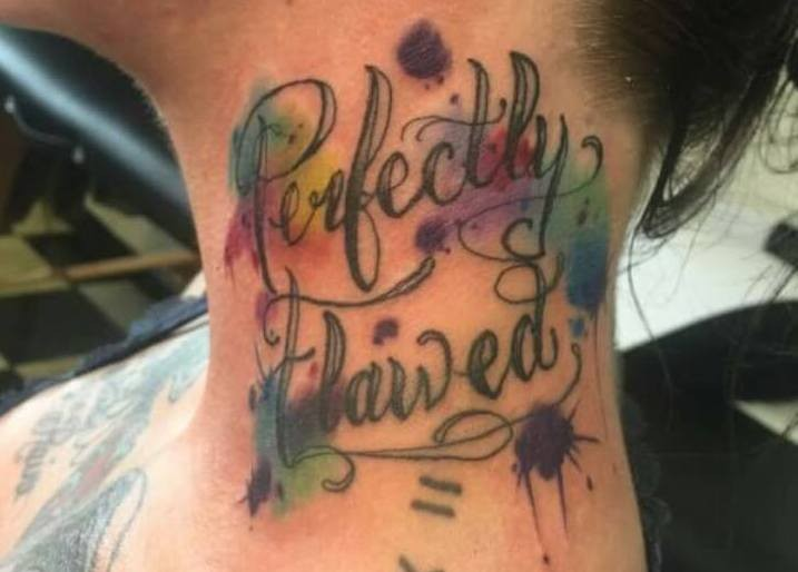 tattoo of words perfectly flawed