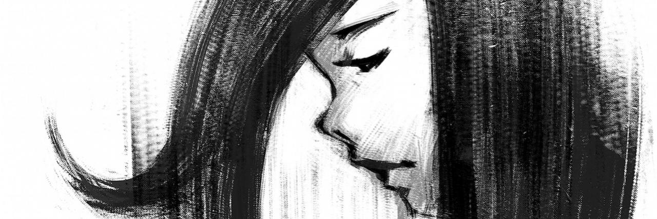 sketch of sad girl