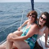 Maureen and Jerri on a boat.