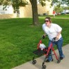 Erin exercising with her walker.