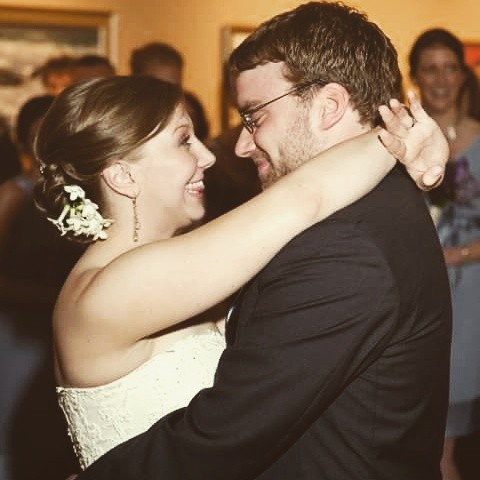 author on her wedding day with her hsuband
