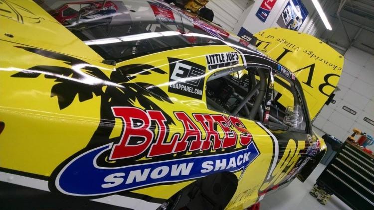 The No. 96 race car bearing the Blake's Snow Shack logo.