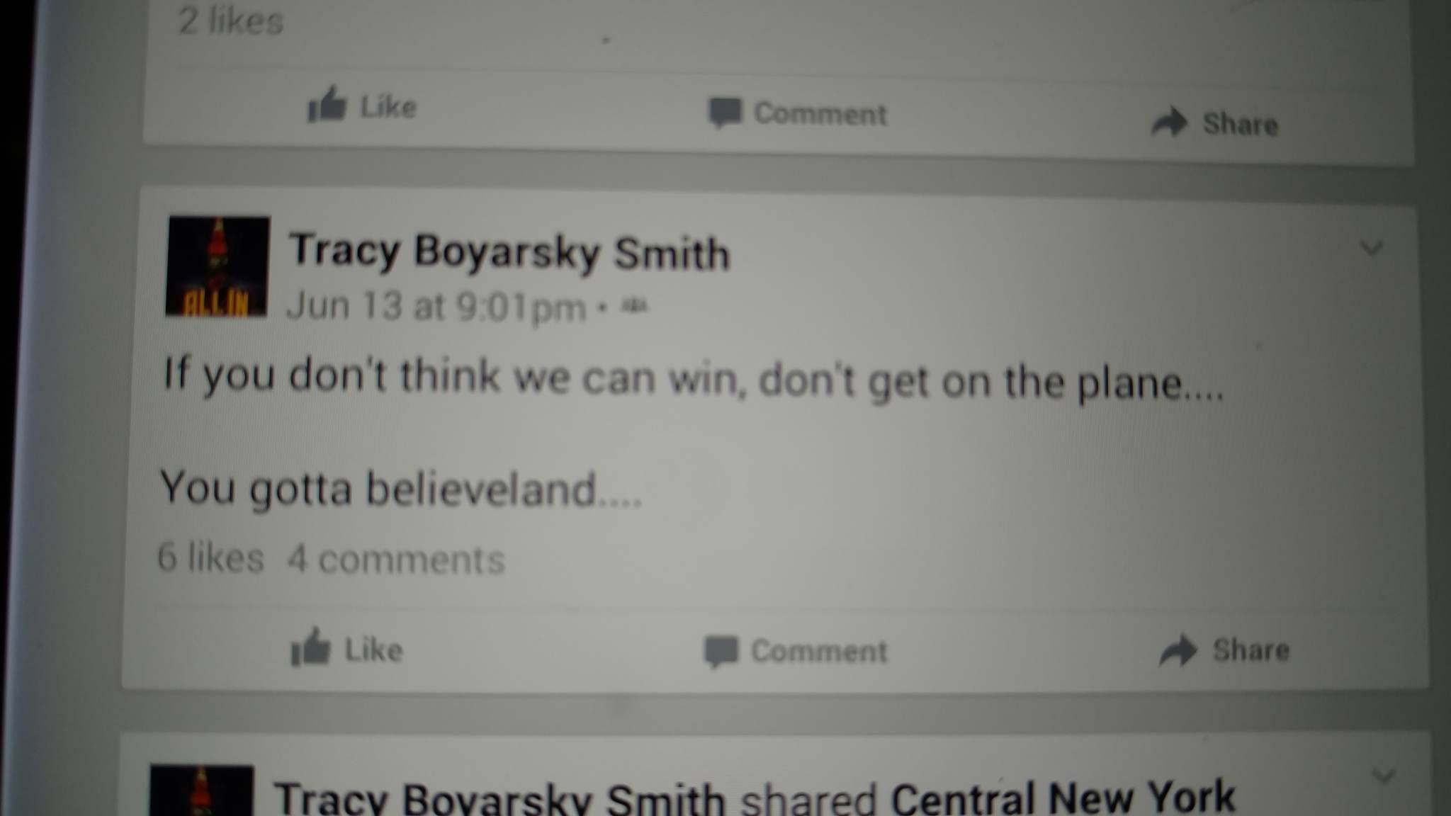 facebook post about believing in cleveland cavs
