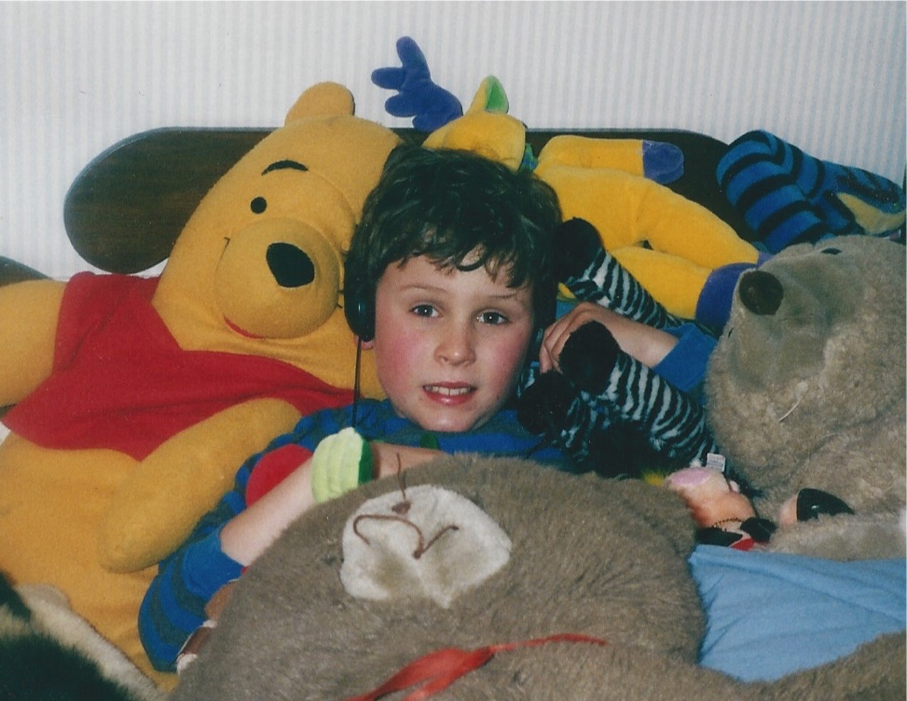 dan with stuffed animals