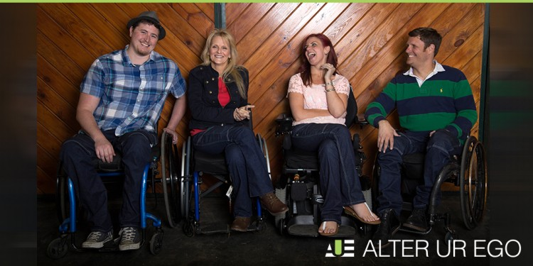 In a photo provided by Heidi McKenzie, a group of wheelchair users model Alter Ur Ego jeans.