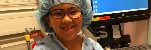 Angela's daughter smiling before surgery