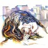 illustration od a woman sleeping, a ciy landscape in the background, and half of her face showing the inside of her brain