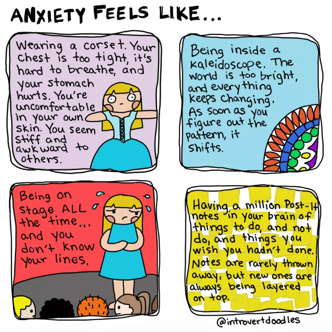 comic showing what anxiety is like.