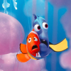 Image from Finding Dory: Dory and Nemo hugging each other