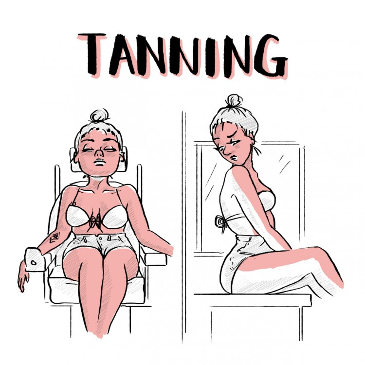 [Image Title: Tanning. Left Image Description: A girl in a wheelchair is tilted back in her chair, with a bikini top and shorts, tanning. Right Image Description: That same girl is sitting on a counter, looking back disappointed as only the front half of her body is tanned.]