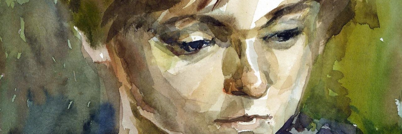 Watercolour woman portrait