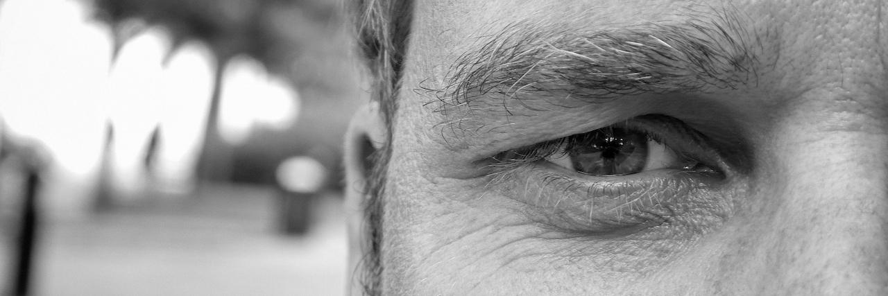 Close-up of intense face