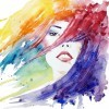 face close-up fashion illustration, hand painted watercolor illustration of woman's head and hair