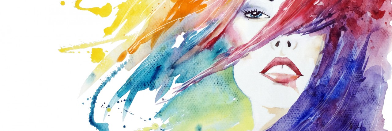 Beauty, face close-up fashion illustration, hand painted watercolor illustration