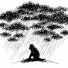 Man under stormy rainy clouds. Concept sketched illustration about sadness and depression.