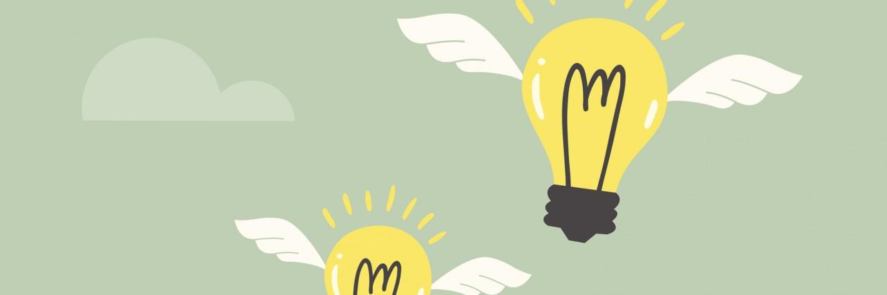 light bulbs flying out of a cartoon head