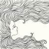 Line art of woman with beautiful hair (contour)